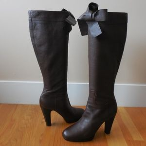 $1,495~MIU MIU~Leather BOW Knee-High Boots~10.5/11